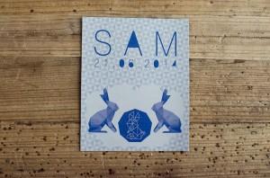 Couverture livre d'or baptême Sam
