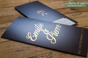 Faire-part de mariage Emilie et Pierre- Effet métallisé doré